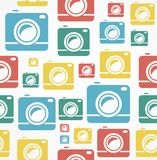 Vector Flat seamless photo camera pattern Stock Photos
