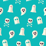 Vector Flat Seamless Scary Ghost and Spirit Halloween Pattern. Flat Design Vector Seamless Texture Background. October Magic Holiday Halloween Party Template Royalty Free Stock Photography