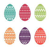 Vector flat set of colorful and ornate easter eggs. Fresh and spring design for greeting cards, textile, booklet, fabric, sticker. Dots, flowers, stripes Royalty Free Stock Photography