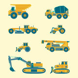 Vector flat set of construction vehicles icons. Road engineering images. Industrial machinery symbols. Stock Image