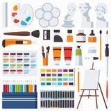 Vector flat set with fine artist stationery. Watercolor, tempera, easel, palette, color pencils, gypsum head and other accessories. For art studio and drawing Royalty Free Stock Image