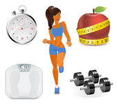 Vector flat set of fitness woman. Flat illustration of fitness elements. Stock Photos