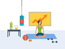 Vector flat set of fitness woman. Yoga classes Stock Image