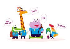 Vector flat set of happy  cartoon animal students standing with speech bubbles  on white background Stock Photography