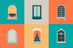 Vector flat set of icons for windows with pane. Rectangle and oval shape glass. Balcony with curtains, vase, shutter Royalty Free Stock Images