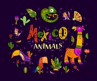 Vector flat set of mexico traditional elements, symbols & animal characters in flat hand drawn style isolated on dark background. royalty free illustration