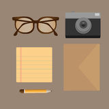 Vector flat set of modern stuff and devices. Flat style design - vector illustration Royalty Free Stock Image