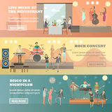 Vector flat set of musicians concept horizontal banners Royalty Free Stock Photo