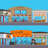 Vector flat set of shop exterior. Vector set of shop facade. Coffee house, flower, car shop and hunting shop exterior. Flat style design Royalty Free Stock Images