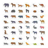 Vector flat set of silhouettes of farm and wild animals Stock Photography