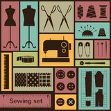 Vector flat sewing icons set Stock Images