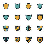 Vector flat shield icons set. On white background Stock Photography