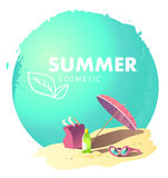 Vector flat simple cosmetic logo isolated. Leaf icon. Health care. Summer care cosmetic brand mark, insignia. Summer holiday illustration. Sea rest accessory Royalty Free Stock Images