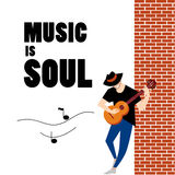 Vector flat simple friendly guitar man in hat character. Stock Photos