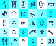 Vector flat simple illustration of sanitary icons Stock Photo