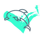 Vector flat simple minimalistic dolphin logo. Stock Photos