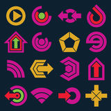 Vector flat simple navigation pictograms collection. Set of yell Royalty Free Stock Photos