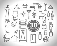 Vector flat simple plumbing and sanitary icon collection. Stock Photo
