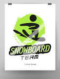 Vector flat simple snowboarding sport logo design  on white background. Human active winter sport athlete figure silhouette. Snowboard icon, competition emblem Stock Images