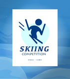 Vector flat simple winter sport logo design isolated on white background. Human active sport athlete figure silhouette. Skiing competition emblem design Royalty Free Stock Photo