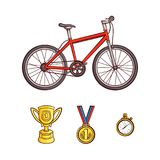 Vector flat sketch sport symbols icon set. Detailed bicycle, red mountain bike, first place gold medal, golden cup, trophy, stopwatch. Sport equipment object Stock Photo