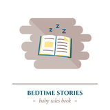 Vector flat sleep icon. Vector simple flat icon for well healhty night sleep isolated on white background. Sleep fairy tale book with bedtime story Royalty Free Stock Photography