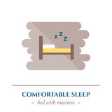 Vector flat sleep icon. Vector simple flat icon for well healhty night sleep isolated on white background. Sleep single bed for one person Stock Photography