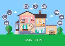 Vector flat smart home in cut view Royalty Free Stock Photography