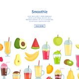 Vector flat smoothie banner with place for text illustration royalty free illustration