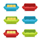 Vector flat sofa icons set. Royalty Free Stock Images