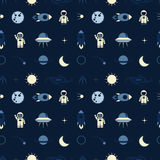 Vector flat space design seamless pattern Royalty Free Stock Photos