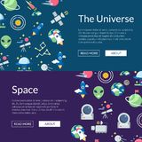 Vector flat space icons web banner templates illustration stock illustration