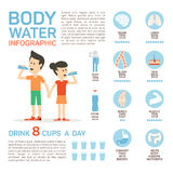 Vector flat style of body water infographic concept. Concept of drinking water, healthy lifestyle. Bottle brain body Royalty Free Stock Photo