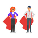 Business characters in red cloaks. Vector flat style business characters in red cloaks. Isolated on white background vector illustration