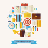 Vector Flat Style Business Workplace and Office Objects Concept Stock Image