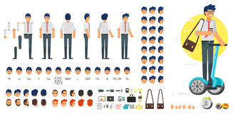 Businessman character creation set. Vector flat style businessman character creation set for animation. Different emotions, hairstyles and gestures. Front, side Royalty Free Stock Images
