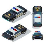 Vector flat-style cars in different views. Isometric police car Stock Photos