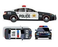 Vector flat-style cars in different views. Police car. Security vehicle with siren illustration Royalty Free Stock Image