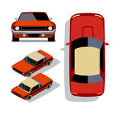Vector flat-style cars in different views. Red muscle car stock illustration