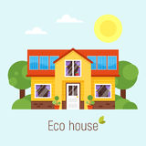 Vector flat style concept of Eco house Royalty Free Stock Images