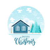 Vector flat style country house with spruces and trees with lettering quote - merry christmas. It is snowing now Stock Image
