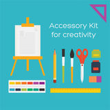 Vector flat style education art tools and school supplies. Easel, brushes, pencil, paint, ruler, scissors,eraser, ink bottle royalty free illustration