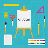 Vector flat style education art tools and school supplies : easel, brushes, pencil, paint, ruler, scissors, ink bottle vector illustration