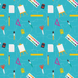 Vector flat style education art tools and school supplies seamless pattern stock illustration