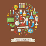 Vector Flat Style Education and Science Objects Concept Stock Photos