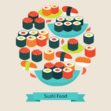 Vector Flat Style Food Sushi Sashimi and Rolls Objects Concept Stock Photography