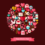 Vector Flat Style Happy Valentine Day Objects Concept Royalty Free Stock Photography