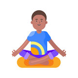 Vector flat style illustration of afro american man doing yoga. Stock Photos
