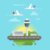 Vector flat style illustration of airport. Stock Photography