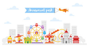 Vector flat style illustration of amusement park for kids. Isolated on white background Stock Images
